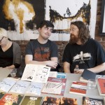 Comic artists in a row. From the left, Terhi Ekebom, Eirik A. Vik and Kim Holm.