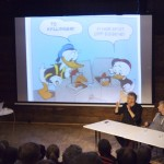 Photo from a panel with Donald Duck artist Arild Midthun, together with editor Tormod Løkling and script writer (and TV personality) Knut Nærum.